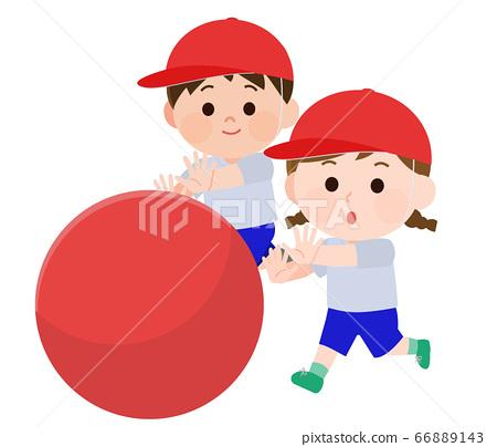 體育日Otama滾動男性和女性的插圖 66889143
