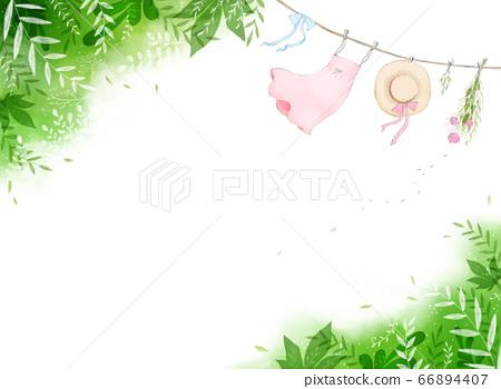 상쾌한 바람에 나부끼는 모자, 스커트, 리본이 그려진 일러스트 66894407