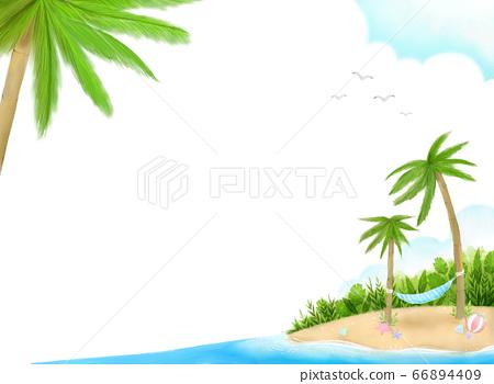상쾌한 여름 하늘과 바다, 야자수와 해먹이 그려진 파스텔 일러스트 66894409