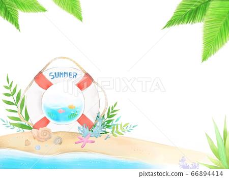 在清新的夏日海灘上描繪浮羽,海星,貝類等的插圖 66894414