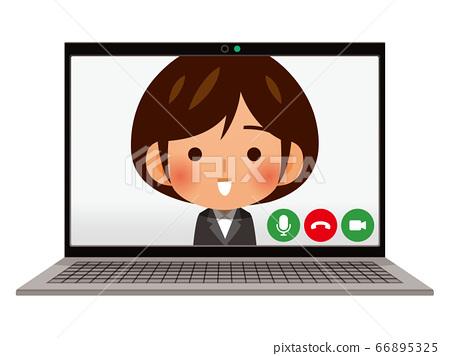 在PC上進行網絡採訪/視頻通話圖像 66895325