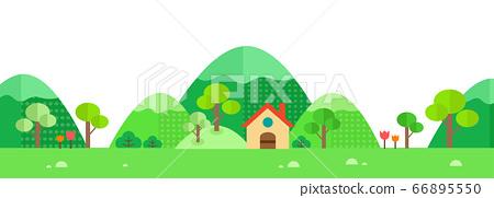 草原,山脈和房屋的景色 66895550