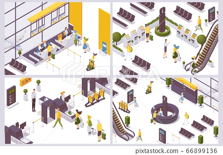 Isometric scenes with airport people and objects. 66899136