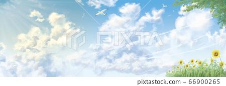 積雨雲,植被在近距離的夏日天空 66900265