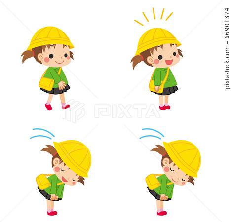 禮貌的幼兒園女孩打招呼的一套 66901374