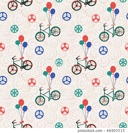 Vector Bicycle weekend illustration, seamless pattern, with balloons, flowers, wheels, pastel and colours 66903515