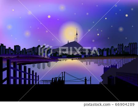 [矢量]夢幻般的夜空和河流的首爾市夜景剪影 66904289
