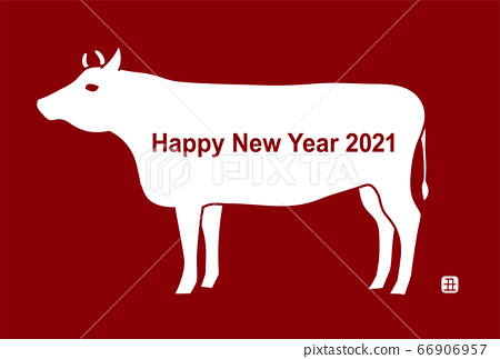 New Year card: 2021 ox year cow illustration red background 66906957