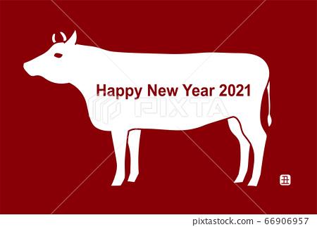 新年賀卡:2021牛年牛圖紅色背景 66906957