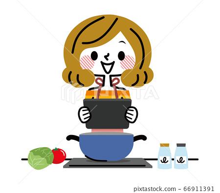 태블릿을보고 요리하는 여자 66911391