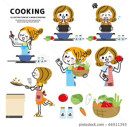 요리를하는 여성의 세트 66911393
