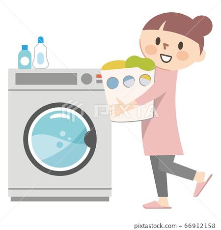 洗衣服的年輕女子的插圖 66912158