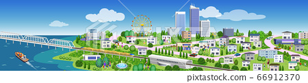 주택과 건물의 거리 풍경 일러스트, 3D 아트 워크 66912370