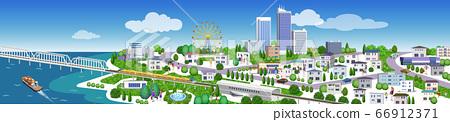 주택과 건물의 거리 풍경 일러스트, 3D 아트 워크 66912371