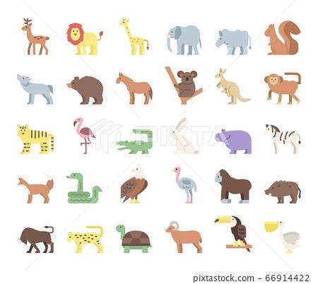 wild animals flat vector icons 66914422