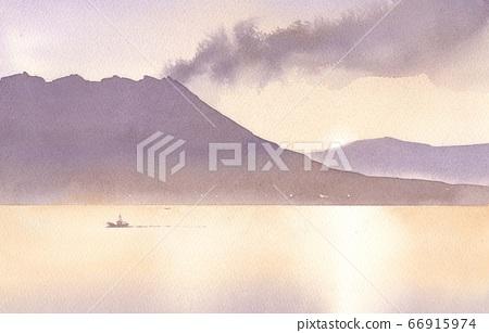 Watercolor Sakurajima 66915974