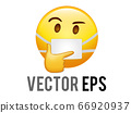 Vector yellow considering face with right hand flat icon with mask 66920937
