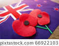 Close up on Remembrance poppies on a New Zealand flag. 66922103