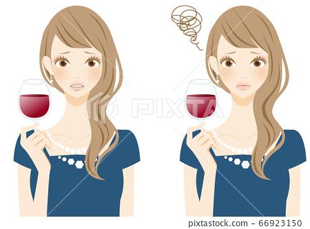 違反禮節在餐廳喝酒時遇到麻煩的婦女 66923150