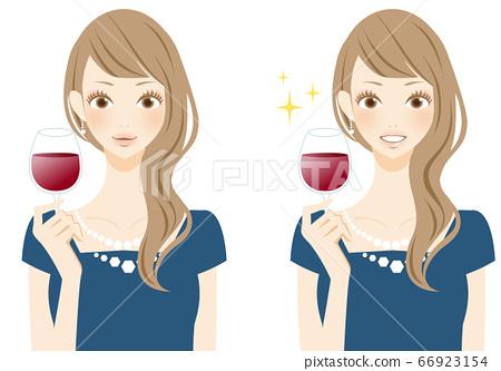 女人喝紅酒,微笑派對,薄酒萊 66923154