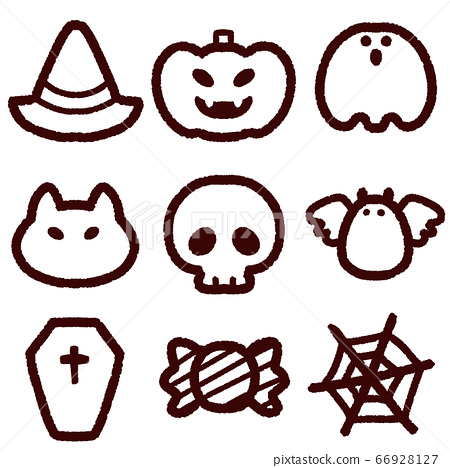 Cute Pictures Of Halloween.Cute Halloween Icon Set Line Drawing Stock Illustration 66928127 Pixta