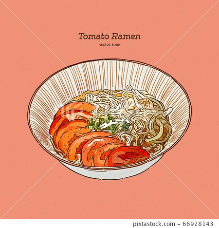 Tomato ramen for vegeterian, hand draw sketch 66928143