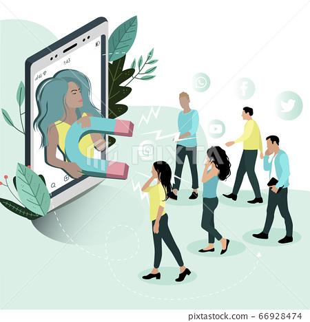 Influencer social media marketing or network 66928474