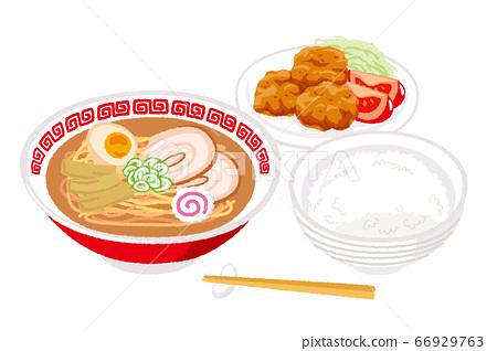 一套拉麵和炸雞的插圖 66929763