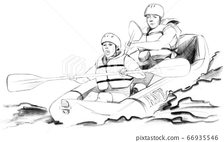 Family rafters paddling down the river sketch 66935546