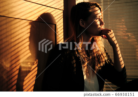 Business Woman Standing By Window With Venetian Blinds 66938151