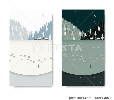 Winter scenery landscape, man tending his sheep below small village and pine forest 66943001