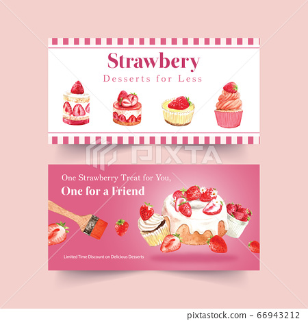 Twitter template with strawberry baking design 66943212