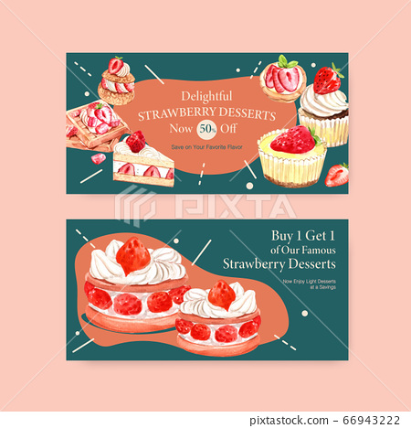 Twitter template with strawberry baking design 66943222