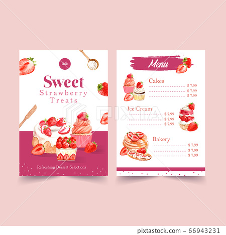 Menu template with strawberry baking design for 66943231