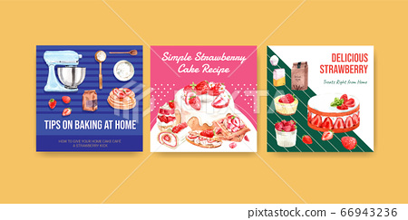 Advertise template with strawberry baking design 66943236