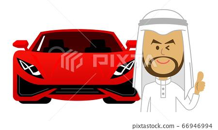 阿拉伯人和豪華跑車的插圖形象 66946994