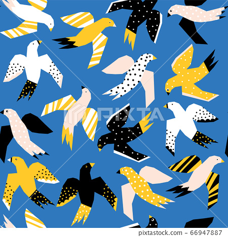Abstract Flying birds papercut style seamless vector pattern. Repeating background without 66947887