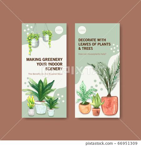 Summer plants flyer template design for 66951309