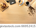 Directly above shot of coffee with roasted beans by weight scale on table 66952415