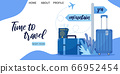 Landing page template for travel business agency. Concept of travel, holiday, vacation, tour or aircraft ticket sale, online booking service. Flat vector illustration, suitcases, passport and tickets 66952454