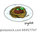 Spaghetti isolated on a white background. Sketch 66957747