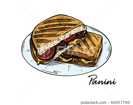 Panini isolated on white background. Sketch 66957760