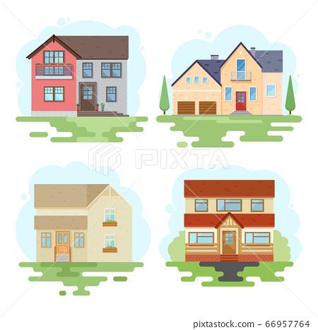 Set stylish house against the sky 66957764
