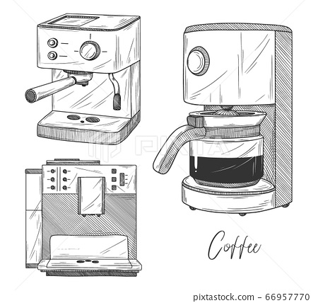 Set of coffee maker isolated on white background. 66957770