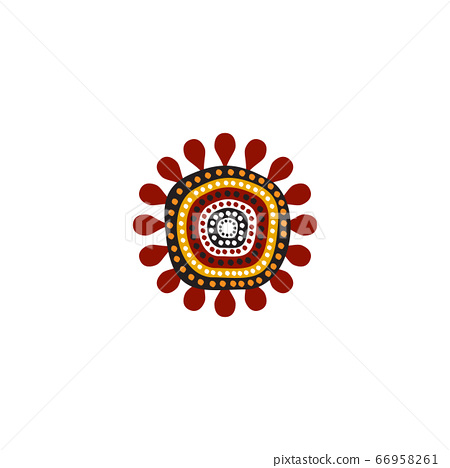 Aboriginal art dots painting icon logo design 66958261