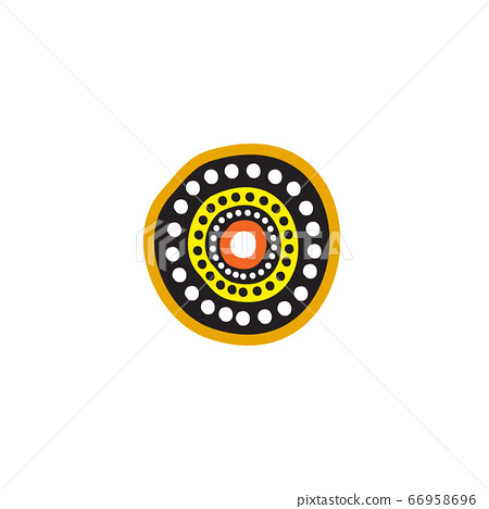 Aboriginal art dots painting icon logo design 66958696