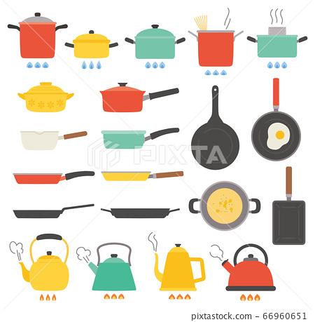 廚房鍋水壺煎鍋食物插圖集 66960651