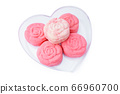 Homemade cookies of healthy food in heart plate. isolate on white background. 66960700