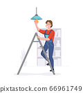 Man provides repair services in homes or offices. Cleaning service professional works on a ladder. Vector illustration 66961749