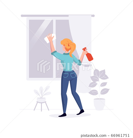 Cleaning professional staff cleans the house. Woman from the cleaning service washes the windows duties offer. Vector illustration 66961751
